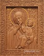 Отрада и Утешение Божия Матерь, резная икона на дубовой цельноламельной доске