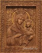 Вифлеемская Божия Матерь, резная икона на дубовой цельноламельной доске