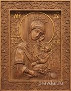 Утоли моя печали Божия Матерь, резная икона на дубовой цельноламельной доске