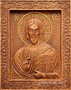 Господь Вседержитель, резная икона на дубовой цельноламельной доске