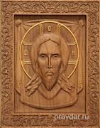 Спас Нерукотворный резная икона на дубовой цельноламельной доске