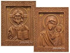 Венчальная пара, резные иконы на дубовой цельноламельной доске (Казанская)