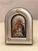 Святое Семейство, греческая икона шелкография, оклад - вакуумное напыление серебром и золотом, цветная эмаль