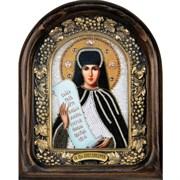 Святая Преподобная Аполлинария, дивеевская икона из бисера