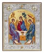 Святая Троица, икона 12х14 см, шелкография, серебряный оклад, золочение, кристаллы Swarovski
