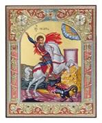 Георгий Победоносец, икона 12х14 см, шелкография, серебряный оклад, золочение, цветная эмаль, кристаллы Swarovski