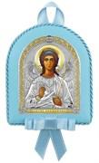 Ангел Хранитель, кожаный медальон с музыкой, серебряная икона с позолотой