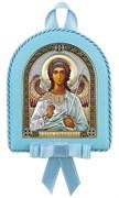 Ангел Хранитель, кожаный медальон с музыкой, серебряная икона цветная эмаль с позолотой