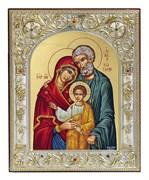 Святое Семейство, икона 12х14 см, шелкография, серебряный оклад, золочение+, кристаллы Swarovski