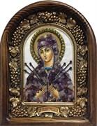 Семистрельная образ Божией Матери, дивеевская икона из бисера на перламутре ручной работы
