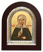 Матрона Московская, икона с серебряной рамкой в деревянным окладом