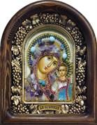 Казанская Божья Матерь, дивеевская икона из бисера и натуральных камней