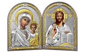 Венчальная пара серебряные иконы с позолотой (Казанская) - АКЦИЯ