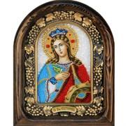 Екатерина Александрийская Святая Великомученица, дивеевская икона из бисера