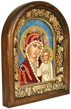 Казанская Божья Матерь, дивеевская икона из бисера ручной работы - фото 4770