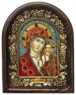 Казанская Божья Матерь, дивеевская икона из бисера ручной работы - фото 4776