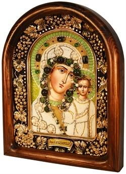 Казанская Божья Матерь, дивеевская икона из бисера и натуральных камней - фото 4784