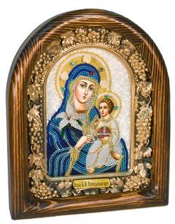 Неувядаемый цвет образ Божией Матери, дивеевская икона из бисера ручной работы - фото 4796