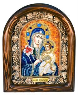 Неувядаемый цвет образ Божией Матери, дивеевская икона из бисера ручной работы - фото 4798