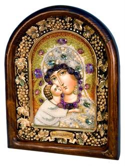 Владимирская Божья Матерь, дивеевская икона из бисера и натуральных камней - фото 4804