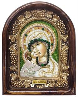 Владимирская Божья Матерь, дивеевская икона из бисера ручной работы - фото 4808
