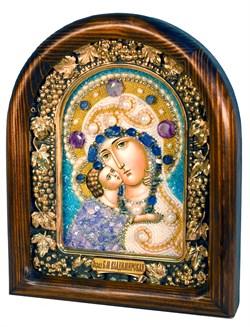 Владимирская Божья Матерь, дивеевская икона из бисера и натуральных камней - фото 4814