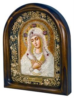 Умиление образ Божией Матери, дивеевская икона из бисера ручной работы - фото 4820