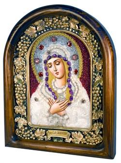 Умиление образ Божией Матери, дивеевская икона из бисера и натуральных камней - фото 4822
