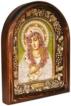 Умиление образ Божией Матери, дивеевская икона из бисера и натуральных камней - фото 4824