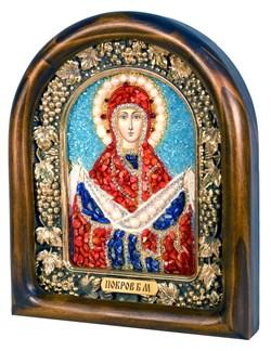 Покров Пресвятой Богородицы, дивеевская икона из бисера и натуральных камней - фото 4826