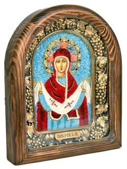 Покров Пресвятой Богородицы, дивеевская икона из бисера ручной работы - фото 4828