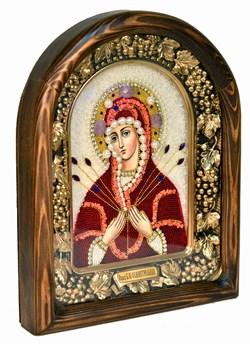 Семистрельная образ Божией Матери, дивеевская икона из бисера и натуральных камней - фото 4852