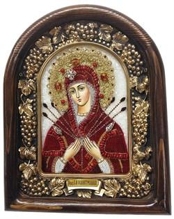 Семистрельная образ Божией Матери, дивеевская икона из бисера и натуральных камней - фото 4856