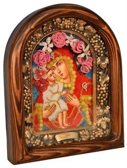 Жировицкая Божья Матерь, дивеевская икона из бисера ручной работы - фото 4858