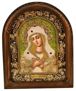 Умиление образ Божией Матери, дивеевская икона из бисера ручной работы - фото 4868