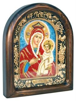 Скоропослушница образ Божией Матери, дивеевская икона из бисера ручной работы - фото 4876