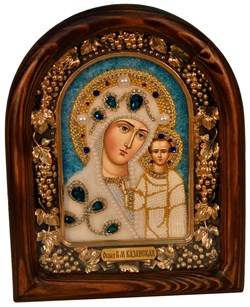 Казанская Божья Матерь, дивеевская икона из бисера ручной работы - фото 4884