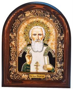 Сергий Радонежский, дивеевская икона из бисера ручной работы - фото 4960