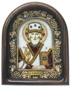 Николай Чудотворец, дивеевская икона из бисера и натуральных камней - фото 4964