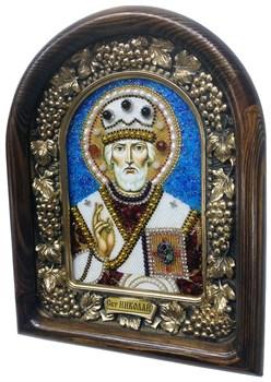 Николай Чудотворец, дивеевская икона из бисера и натуральных камней - фото 4966