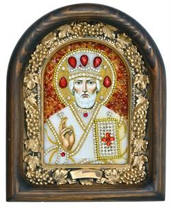 Николай Чудотворец, дивеевская икона из бисера ручной работы - фото 4970