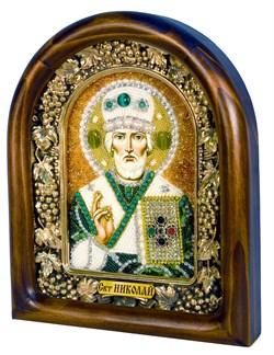 Николай Чудотворец, дивеевская икона из бисера и натуральных камней - фото 4974