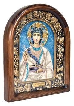 Пантелеймон Святой Великомученик, дивеевская икона из бисера и натуральных камней - фото 4996