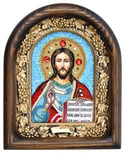 Господь Вседержитель, дивеевская икона из бисера ручной работы - фото 5044