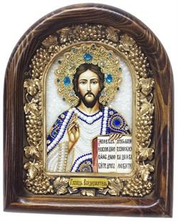 Господь Вседержитель, дивеевская икона из бисера ручной работы - фото 5050