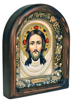 Спас Нерукотворный, дивеевская икона из бисера ручной работы - фото 5052