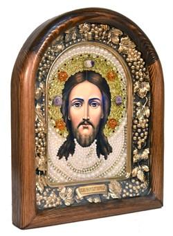 Спас Нерукотворный, дивеевская икона из бисера ручной работы - фото 5058