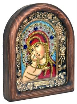Владимирская Божья Матерь, дивеевская икона из бисера ручной работы - фото 5073