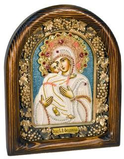 Феодоровская Божья Матерь, дивеевская икона из бисера ручной работы - фото 5076