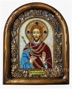 Евгений Святой мученик, дивеевская икона из бисера ручной работы - фото 5091